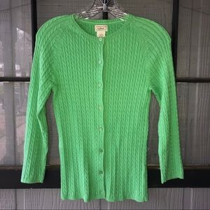🍀 L. L. Bean green, cable knit, cardigan sweater